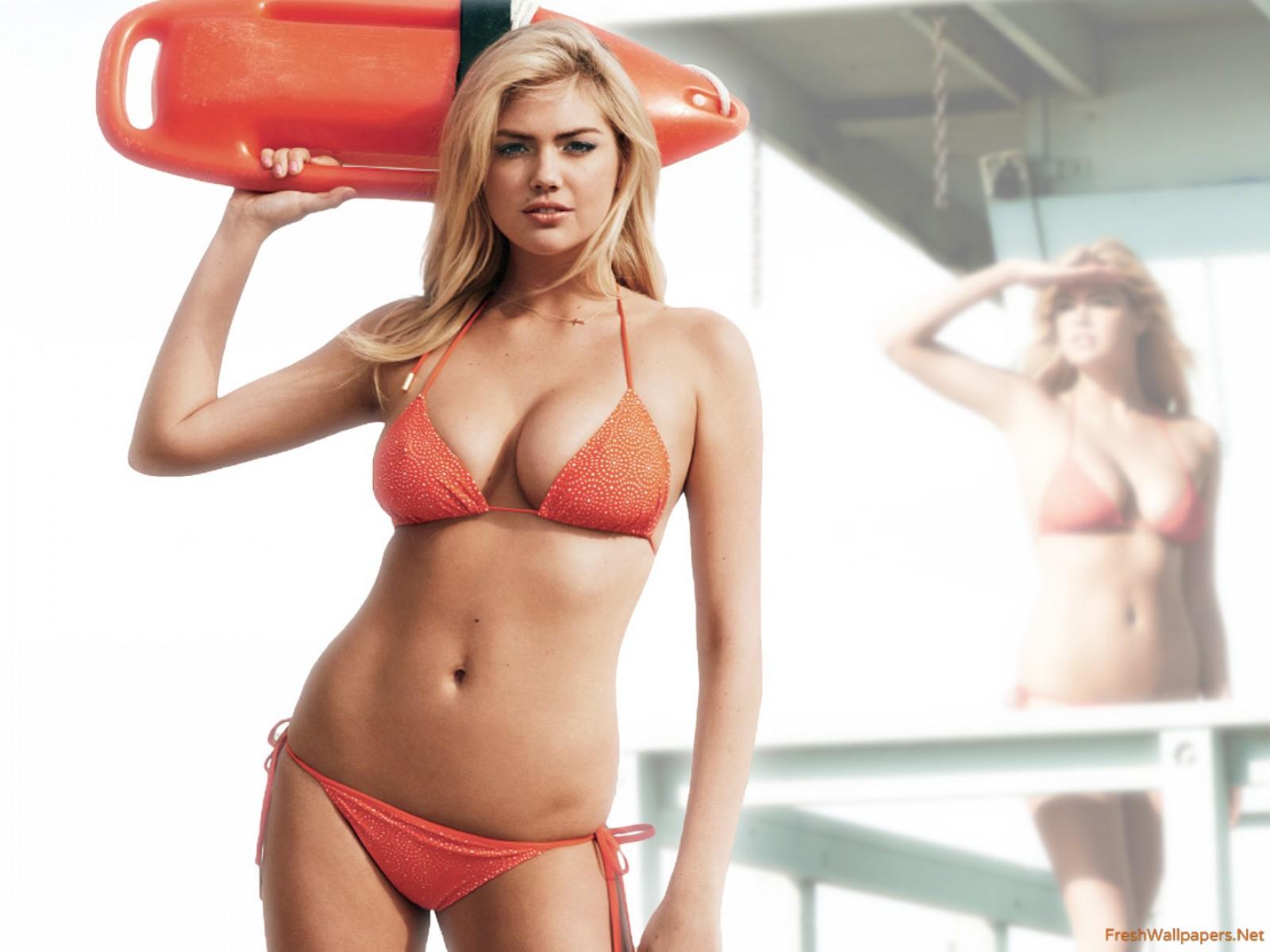 Kate Upton in Red Bikini wallpaper
